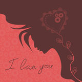 Illustration with silhouette of girl and heart Stock Photography