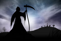 Illustration - Silhouette of a Grim Reaper Stock Images
