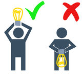 Illustration of silhouette man holding idea 3 Royalty Free Stock Photography