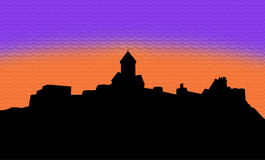 Illustration silhouette narikala fortress Stock Image