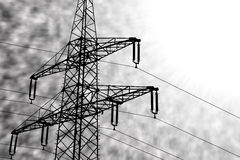 Illustration silhouette of a power line in front of black and wh Stock Images