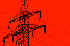 Illustration silhouette of a power line red background Stock Images