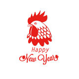 Illustration with silhouette red rooster, cock. Design element of symbol year red rooster . Logo, card, poster Royalty Free Stock Photo