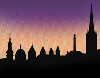 Illustration silhouette of Tallinn Stock Photography