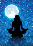 Illustration of silhouette of woman meditating under full moon light. On a starry blue night royalty free illustration