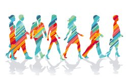 Colorful people silhouettes Royalty Free Stock Photo