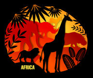 Illustration of silhouettes of African animals made of paper. Stock Images