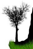 Illustration silhouettes of trees on the rock Royalty Free Stock Photography