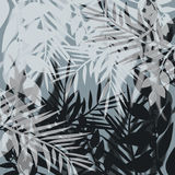Illustration with silhouettes of tropical leaves on gray Stock Photos