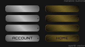 Illustration of silver and bronze metallic web buttons Stock Photos