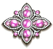 silver brooch with pink pearls vector illustration