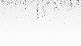 Silver confetti and ribbon isolated on transparent background. Illustration of Silver confetti and ribbon isolated on transparent background royalty free illustration