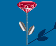 Illustration of the silver rose with a red diamond Stock Photo