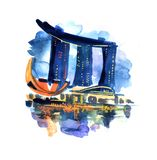 Illustration simbol of Singapore. Hand painted watercolor illustration simbol of Singapore. Marina Bay Sands stock illustration