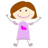 Illustration simple d'enfants de bande dessinée mignonne de fille image stock