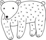 Illustration simple d'ours de forêt de bande dessinée animale de griffonnage Aspiration d'enfants Photographie stock libre de droits