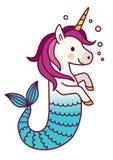 Illustration simple de bande dessinée de sirène mignonne de licorne magique Photos stock