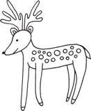 Illustration simple de cerfs communs de forêt de bande dessinée animale de griffonnage Image stock