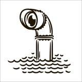 Illustration simple de croquis de périscope tiré par la main de vecteur sur le fond blanc illustration libre de droits