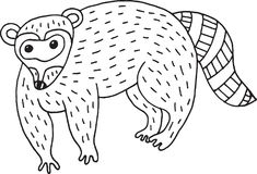 Illustration simple de raton laveur de forêt de bande dessinée animale de griffonnage Photographie stock