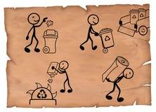 Illustration simple du processus de réutilisation de papier sur un parchemin illustration de vecteur