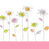 Illustration with simple flowers. Royalty Free Stock Photos