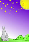 Illustration of simple landscape with rabbit and bright full moon Stock Images