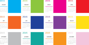 Illustration of a Simple 2015 year calendar. An Illustration of a Simple 2015 year calendar Royalty Free Stock Images