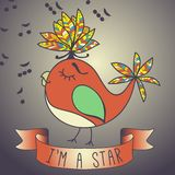 Illustration sing bird. ribbon and slogan. Stock Photo
