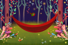 Illustration: A Single Hammock in Forest Night. Royalty Free Stock Images