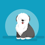 Illustration of sitting funny dog, Old English Sheepdog Royalty Free Stock Photo