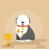 Illustration of sitting funny dog, Old English Sheepdog Stock Image