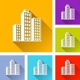 Six 3d buildings icons. Illustration of six 3d buildings icons Royalty Free Stock Images