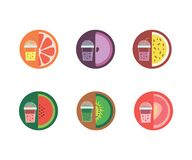 In the illustration, six flavors of lemonade stock illustration