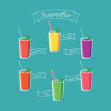 Illustration of six healthy smoothie drinks -  eps8 Stock Photo
