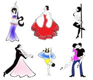 Illustration of the six major dance styles: ballro Royalty Free Stock Photography