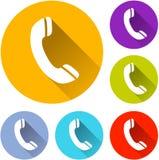 Six phone icons. Illustration of six phone icons on white background stock illustration