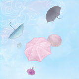 Illustration  of six umbrellas flying in a  sky Royalty Free Stock Photography