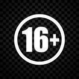Sixteen icon on checkered background Stock Images