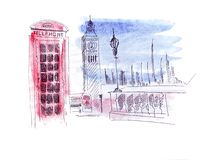 Illustration sketch attraction of the capital of England London: Double-decker bus, prison tower Clock Tower, red phone booth. Illustration sketch attraction of Royalty Free Stock Image
