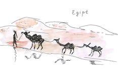 Illustration sketch of Egypt landmarks drover with a camel caravan in the desert sands Stock Photo
