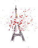 Illustration sketch of the famous symbol of Paris Eiffel Tower Stock Images