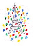 Illustration sketch of the famous symbol of Paris Eiffel Tower, in a spray of fireworks, colored balloons and drops watercolor. Illustration sketch of the famous Royalty Free Stock Photography