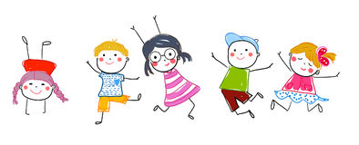 Sketch group of jumping children Stock Images