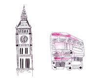 Illustration sketch landmarks of London: Big Ben, double decker bus detached in color. Illustration sketch landmarks of London: Big Ben, double-decker bus Royalty Free Stock Image