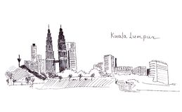 Illustration sketch landmarks Malaysia: the main building and the Twin Towersr Royalty Free Stock Photography
