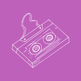 Illustration. Sketch. Lilac background with music cassette. Royalty Free Stock Images