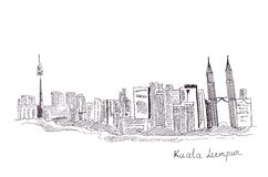 Illustration sketch of the sights of the capital of Malaysia : the main buildings and structures Stock Images
