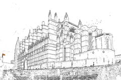 Sketch of La Seu, the Cathedral of Palma de Mallorca - Spain royalty free stock photo