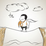 Illustration sketch of super businessman walk on a tightrope Stock Photography